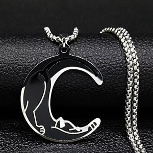 Kitty Stretch Crescent Moon Necklace